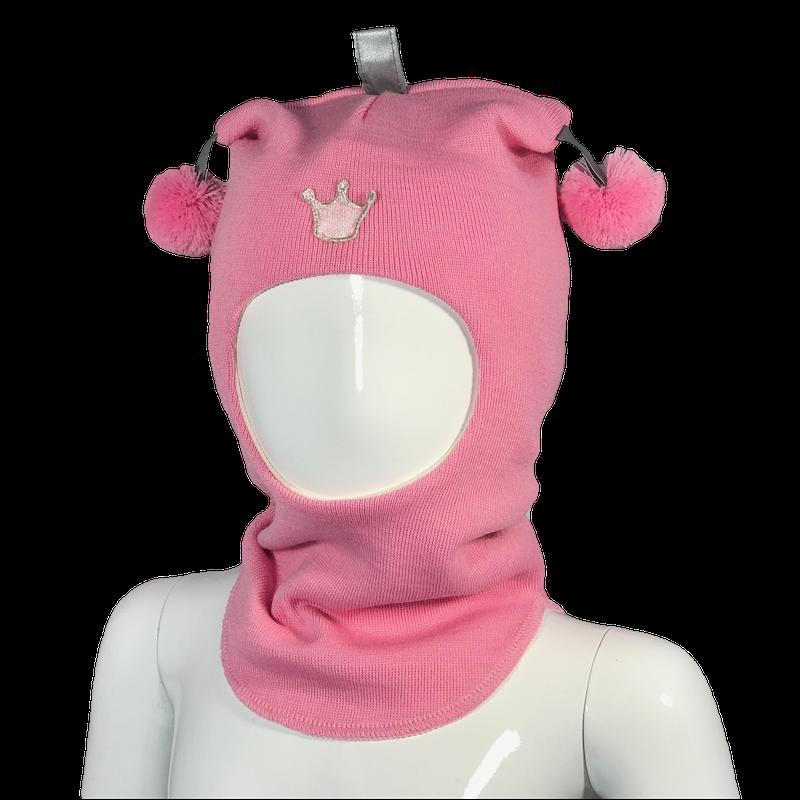 Kivat , rosa hettelue i ull med prinsessekrone og dusker